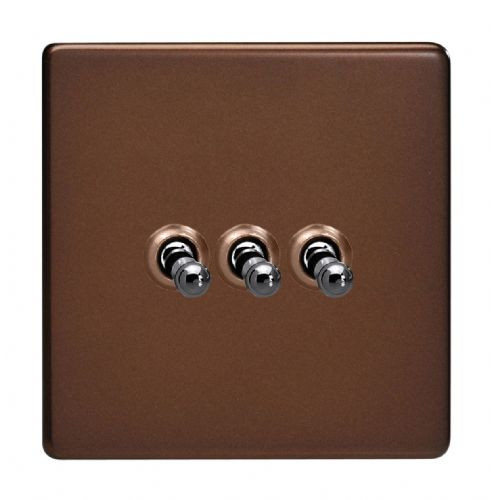 Varilight XDMT3S Screwless Mocha 3 Gang 10A 1 or 2 Way Toggle Light Switch